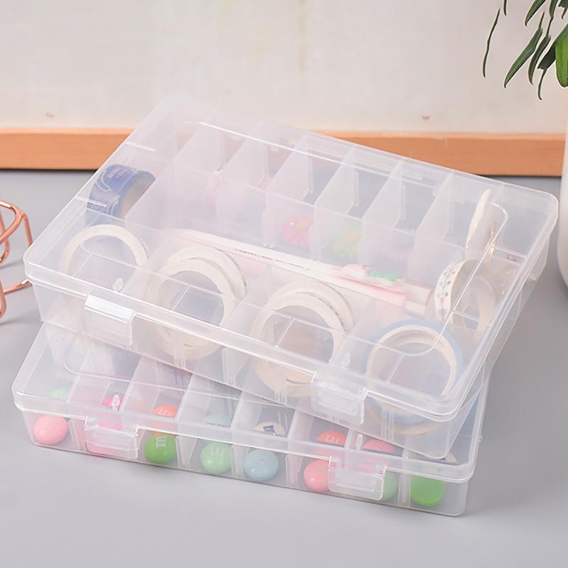 Boîte de rangement de bijoux Coque Artisanat Organisateur Perles Perles multiples Portable Transparent Plastic Coffrets D19 Bins