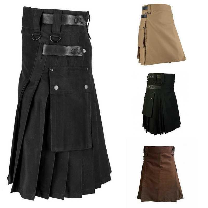 Herren Scottish Solid Classic Retro traditioneller karierter Rock mittelalterliche Persönlichkeit schottisch Kilts Muster Hosen Röcke 201109