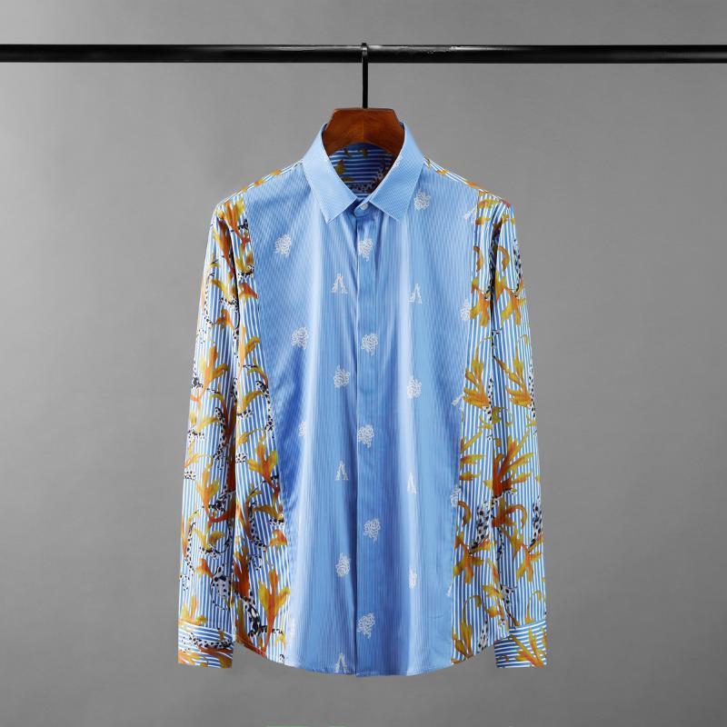 Erkek Casual Gömlek Pamuk Şerit Erkek Lüks Uzun Kollu Çiçekler Baskılı Erkek Elbise Moda Slim Fit Parti Adam