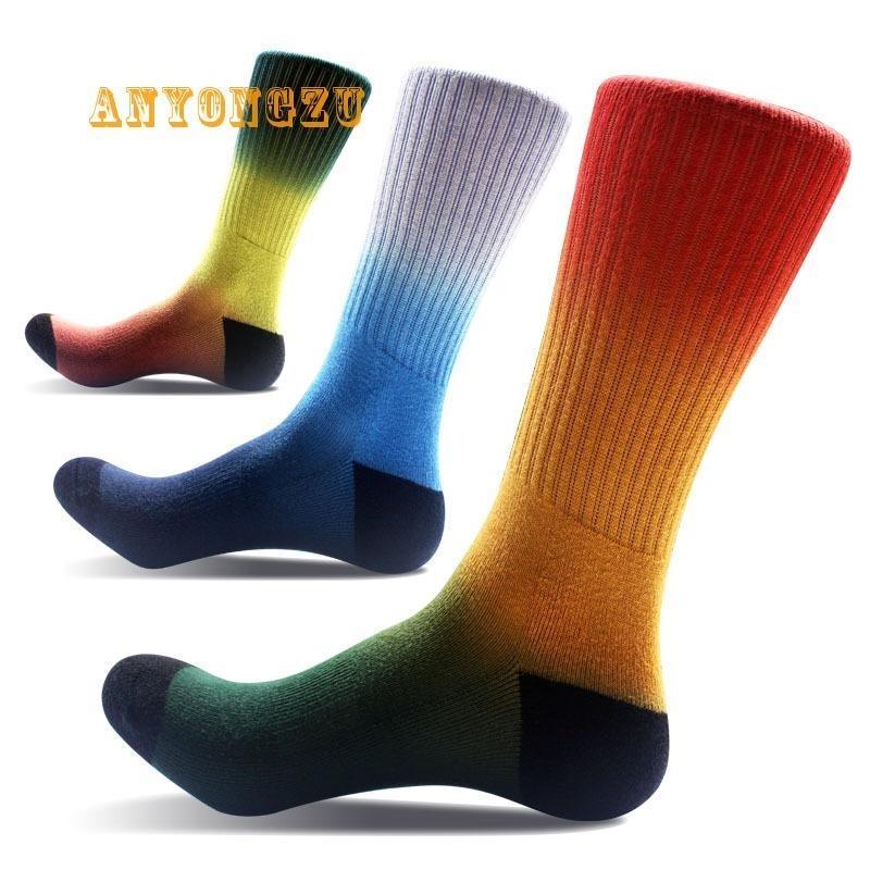 Outono e Inverno Moda dos homens pés adeus espessas de espessamento criativo Absorvente respirável gradiente Arco-íris de cor 1Pair / lote