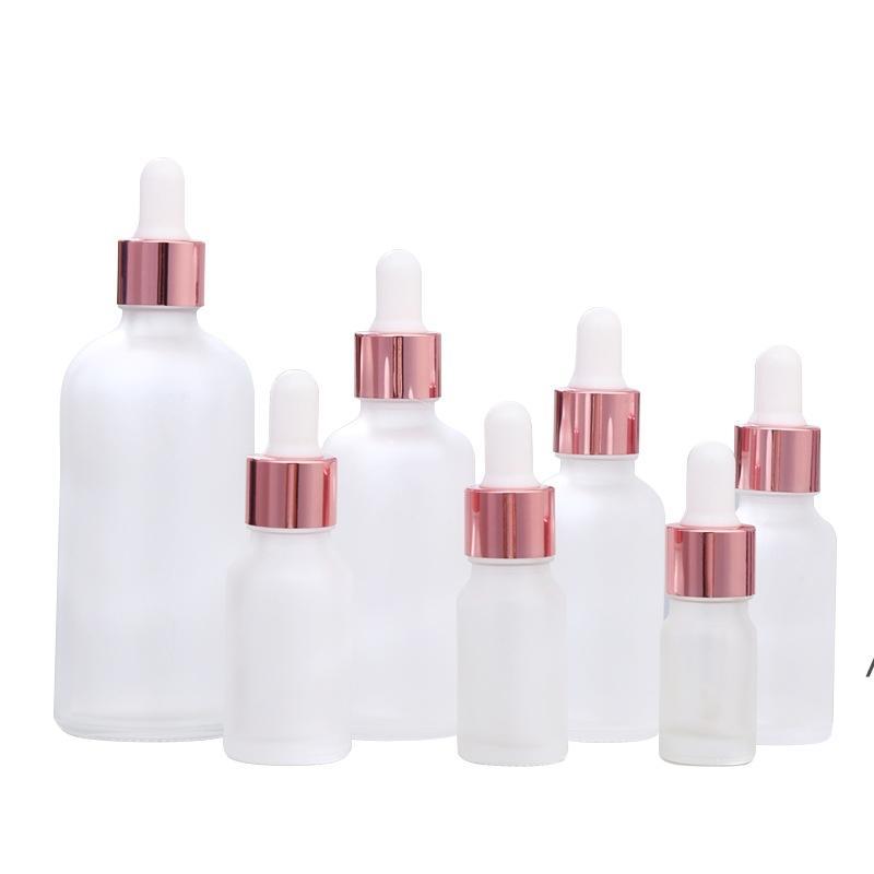 명확한 서리가 낀 유리 에센셜 오일 향수 병 액체 시약 피펫 dropper 병 장미 골드 캡 DHB5861