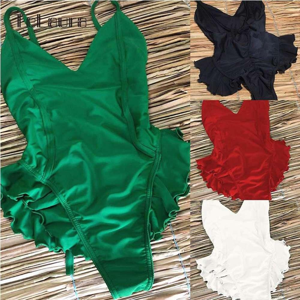 Womens Swimwear Sexy One Piece Swimsuit Women Swimwear Push Up Monokini Ruffle Solid Swimsuit Bathing Suit Women Swimming Suit for