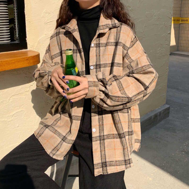 Frauen Blusen Hemden Hemden Herbst Koreanischer Stil College-Stil Retro Lose-Fit Verdickte geschliffene Stoff Plaid Langarm Bluse Top Z08M