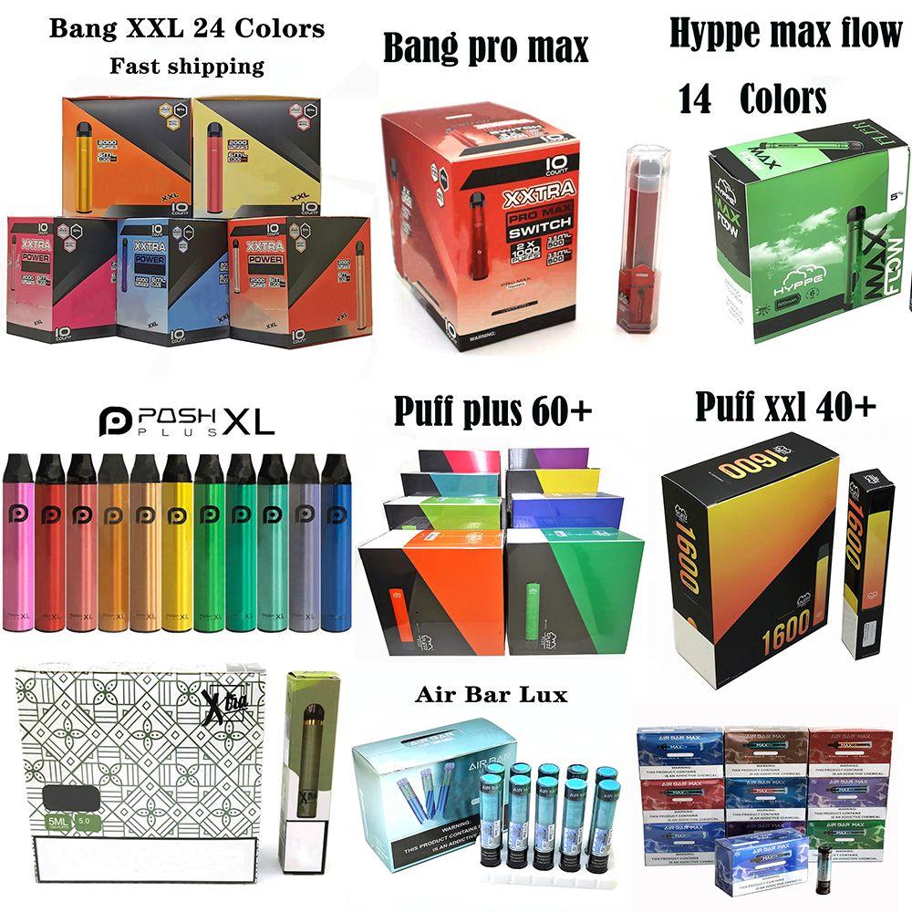 Одноразовые E-Cigarettes Pen Device Bang Puet Hyppe Air Bar Posh Plus XXL XTIA Max Flow 550 мАч Батарея 800Установок Картриджи