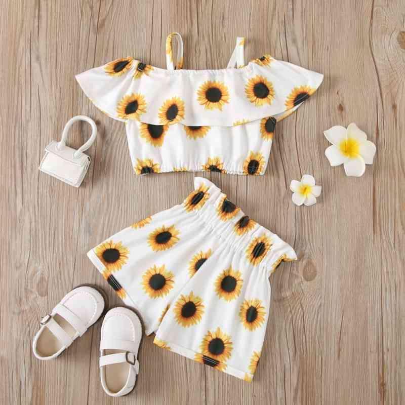 Bebê moda conjunto de coágulos infantis meninas girassol impressão de girassol e calças de cintura alta terno crianças 2pcs camisa de manga raglan e shorts 210418