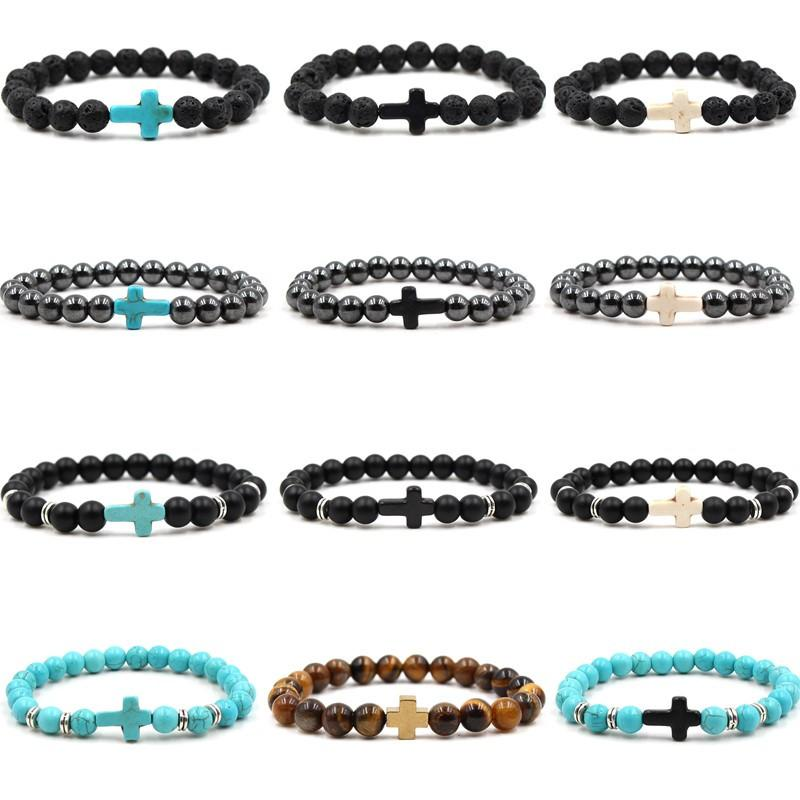 Bracelets Beaded Strands Turquoise Crorss Couples Women Bracelet Frosted Lava Stone Tiger Eye Men Bangles Jewelry Gift