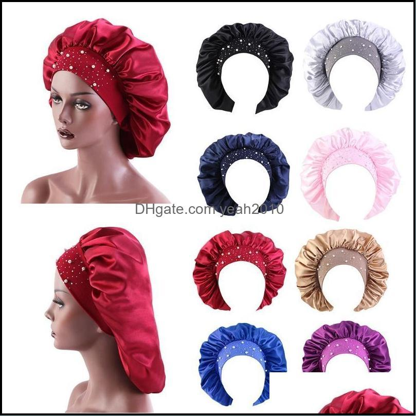 Caps Headwears Athletic Outdoor As Sports & Outdoorswomen Satin Extra Large Bonnet Sleep Cap Shiny Rhinestone Night Hat Head Er M2Ea Beanies
