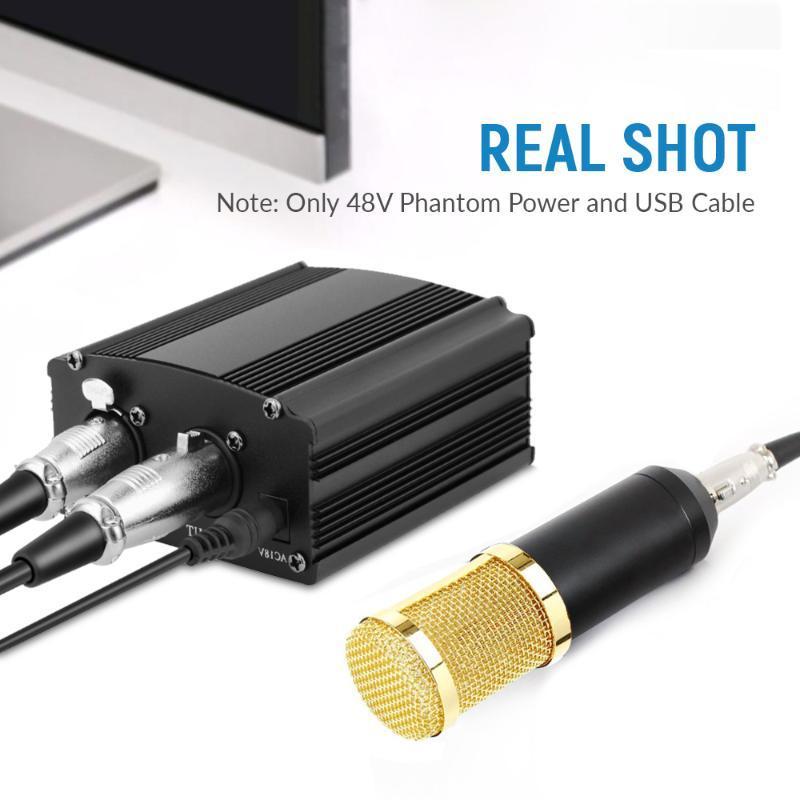 BM 800 microfone para computador 48V Phantom Power BM800 Karaoke Studio USB com cabo XLR BM-800 microfones microfones