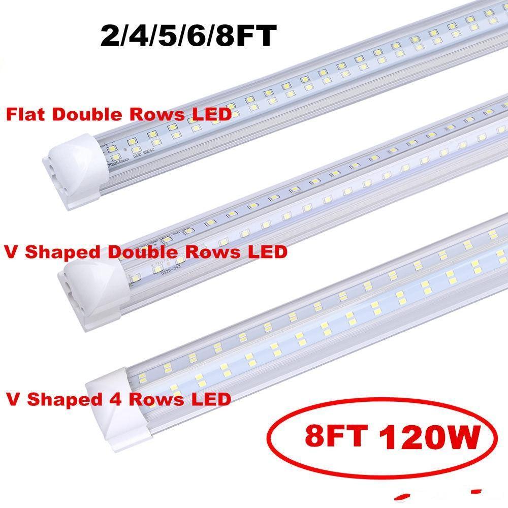 Integração em forma de V Integrar TUBO LED T8 2 4 5 6 8 pés Lâmpada fluorescente 120W 8FT 4rows Tubos de luz Iluminação da porta mais fria