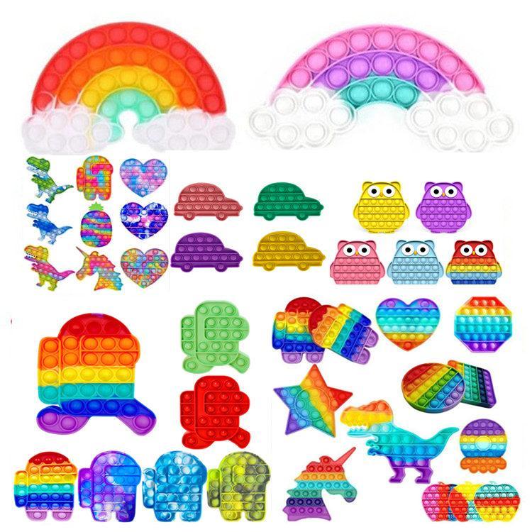 Rainbow Push Pop Bubble TI Fidget Juguete sensorial Alivio Alivio Estrés Alivio Juguetes Análisis de ansiedad Juguetes para alivio para niños Regalos de fiesta de cumpleaños DHL 24H Ship