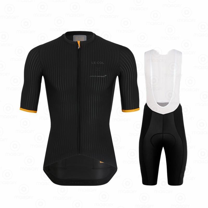 Sets de carreras Le COC Hombres Ciclismo Jersey Trajes de babero Pantalones cortos Pro Set Respirable Kits para hombres Maillots Ciclismo Hombre 2021