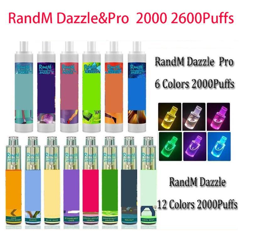 100% original Randm Dazzle Pro Cigarettes Dispositif jetable Kit de 6 ml Pods 2000 2600 mpluffs 1100mAh Batterie Vape stylo vs Puff barres Bang XXL