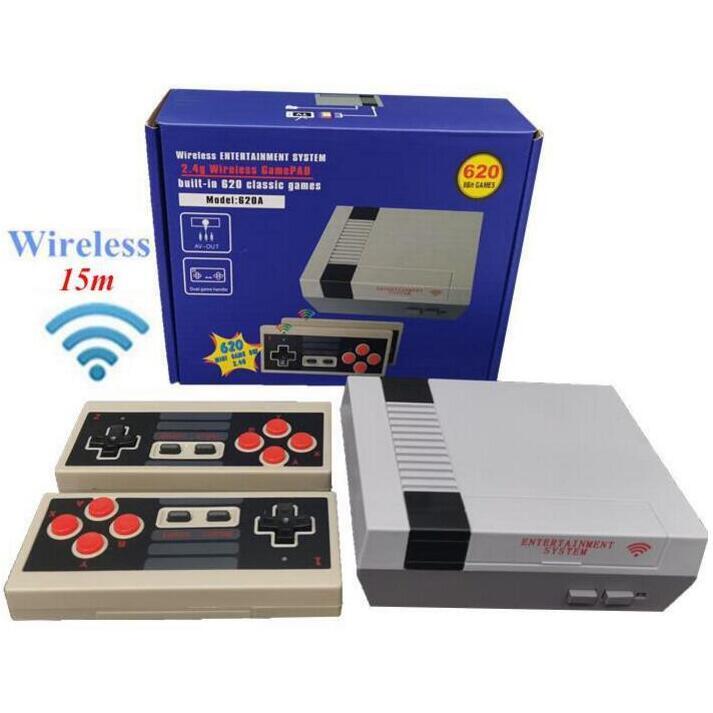620 in 1 yeni 8 bit 2.4G kablosuz video oyun konsolu 620 oyunları saklayabilir retro tv konsolu kutusu AV çıkış çift oyuncu denetleyicisi 111
