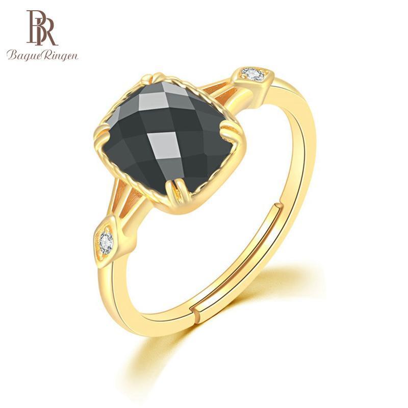 باجي رينغن الفضة الاسترليني 925 مجوهرات سحر الدائري للنساء الأحجار الكريمة الطبيعية ساحة أسود العقيق بالجملة حلقات العنقودية بالجملة