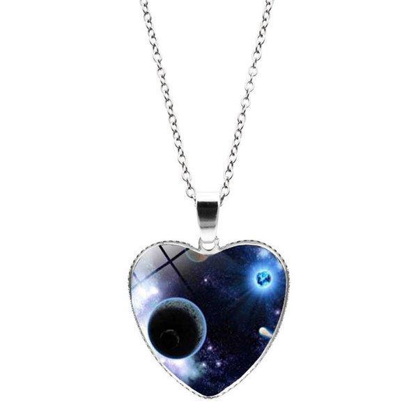 Cam Cabochon Kalp Kolye Kolye Evren Yıldız Ay Kalp Kolye Kadın Kolye Moda Takı Hediye Will ve Sandy