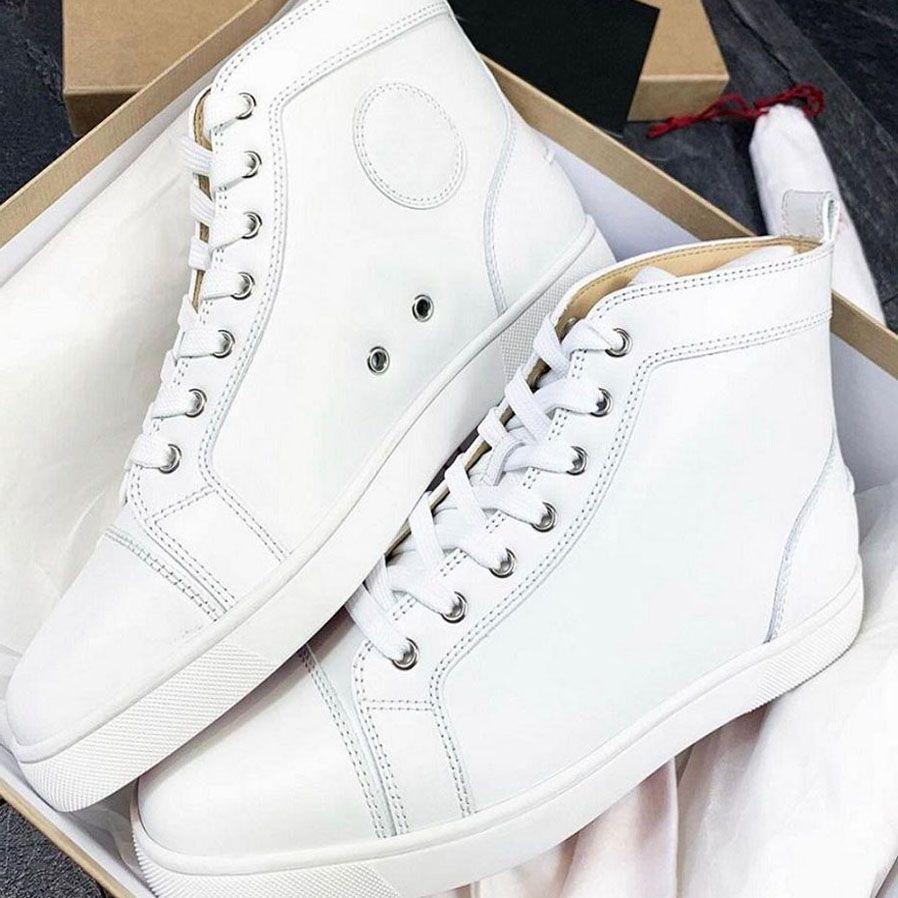 Lüks Tasarımcılar Yüksek Üst Erkekler Rahat Ayakkabılar Kırmızı Alt Homme Sneakers Süet Deri Sneaker Fabrika Kırmızı Tabanlar Satış Aşıkları Eğitmenler Siyah Beyaz Toz Çanta ile Siyah Beyaz