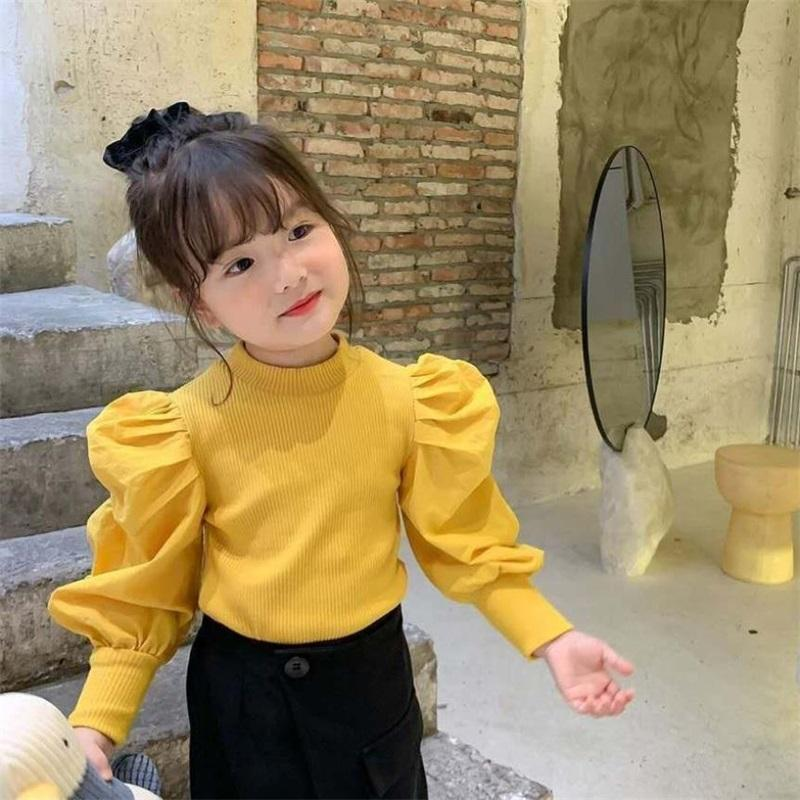 Primavera Outono Meninas Camisola Bebê Knitwear Crianças Tops Childted Moda Roupas Streetwear Ins Puff Sleeve Patch 1 a 8 yrs 1455 Y2