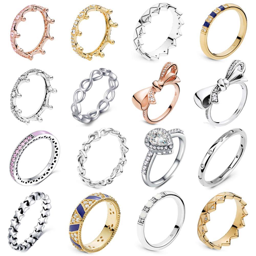 OCTBYNA Gümüş Renk Gül Altın Klasik Infinity Yüzükler Kadınlar Için Düğün Prenses Kroon Marka Yüzük Takı Yıldönümü