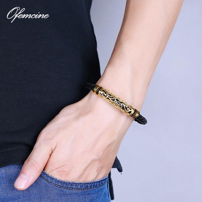 Charm Bracelets Luxury Mens Braided Genuine Leather Bracelet Stainless Steel Punk Bangles For Men Jewellery Japanese Friendship