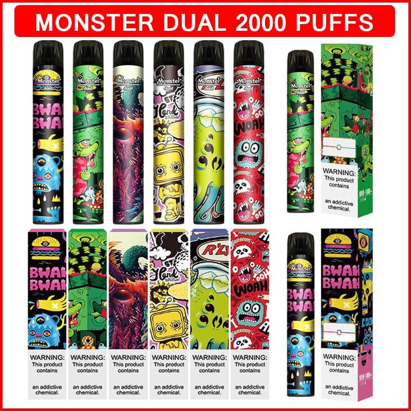 몬스터 이중 일회용 담배 2in1 Swtich 사전 충전 된 vape 펜 장치 2000 퍼프 6.0ml 카트리지 Ecigarettes e Cigs