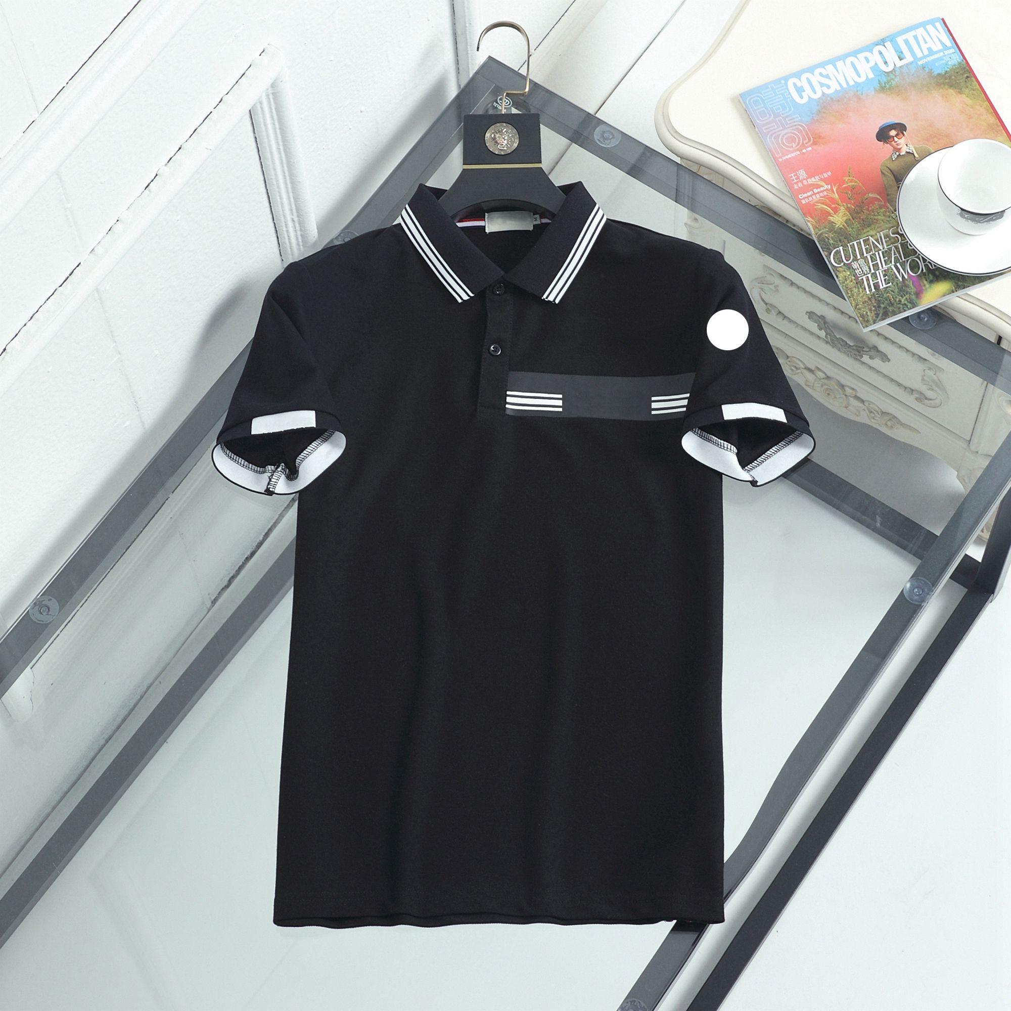 Designer Monclair Herren Polos Luxus Streifen Brief Gedruckt Männer SOlo Tshirts Mode Doppelsperlen Marke Boutique Solide Farbe Top Kurz T-Shirt 003