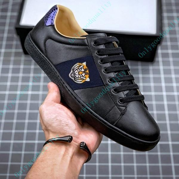 الرجال النساء عارضة الأحذية المسطحة منصة ثعبان أعلى جودة chaussures جلد أحذية رياضية الآس النحل التطريز المشارب المشي الأحذية الرياضية