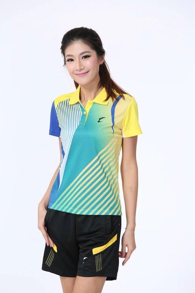 Top Qualität Badminton Wear Sets für Frauen Eltern und Kinder Gelbes Hemd mit Shorts Outdoor Apparel Tennis Tisch Athletic Set S5008-6
