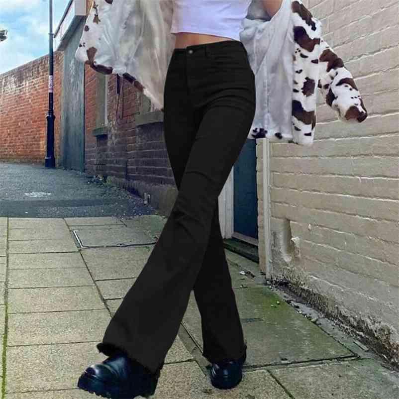 Vintage marrom y2k jeans para meninas feminino moda feminina mulheres clássico flare calças de denim calças de cintura alta calças harajuku capris bolsos 210322