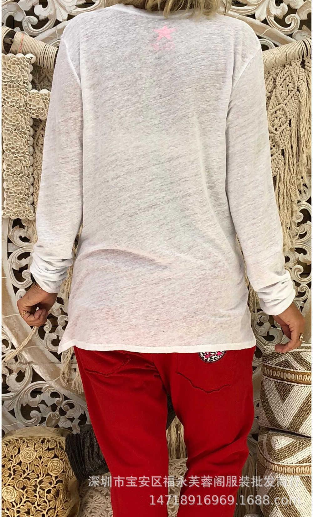 Nuevo suéter con cuello en V de manga larga impresa Topbo55