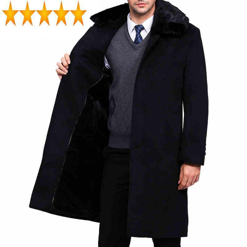 브랜드 의류 긴 트렌치 코트 진짜 모피 턴 다운 칼라 겨울 자켓 남성 남성 흑인 남성 코트 WUJ1178 양모 블렌드