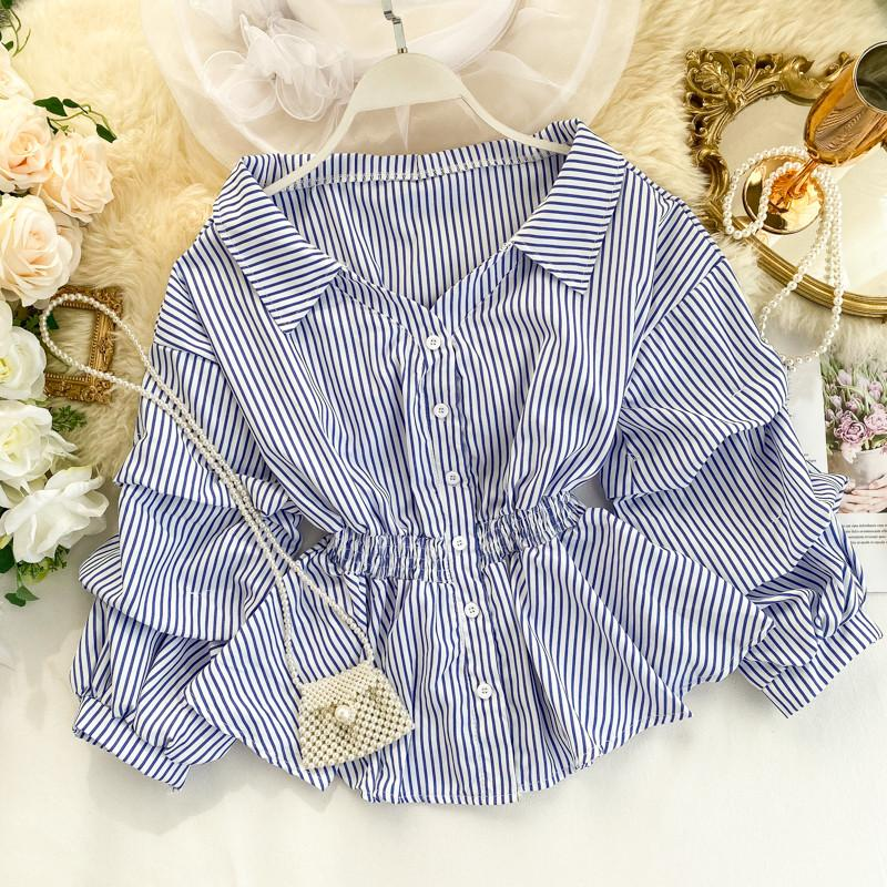 Chic Hong Kong retro shirt women's design small crowd pile sleeve waist lotus leaf put foreign style short striped top