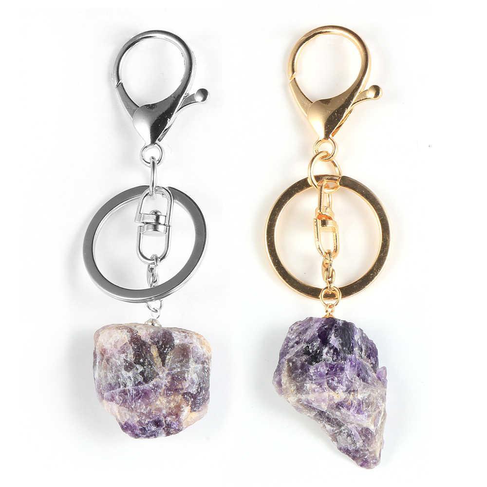 Keychain Ametistas Originais Pingente de Cristal Chaveiro Chaveiro Chaveiro Chaveiro Mulheres Meninas Boho Pedra Natural Jóias