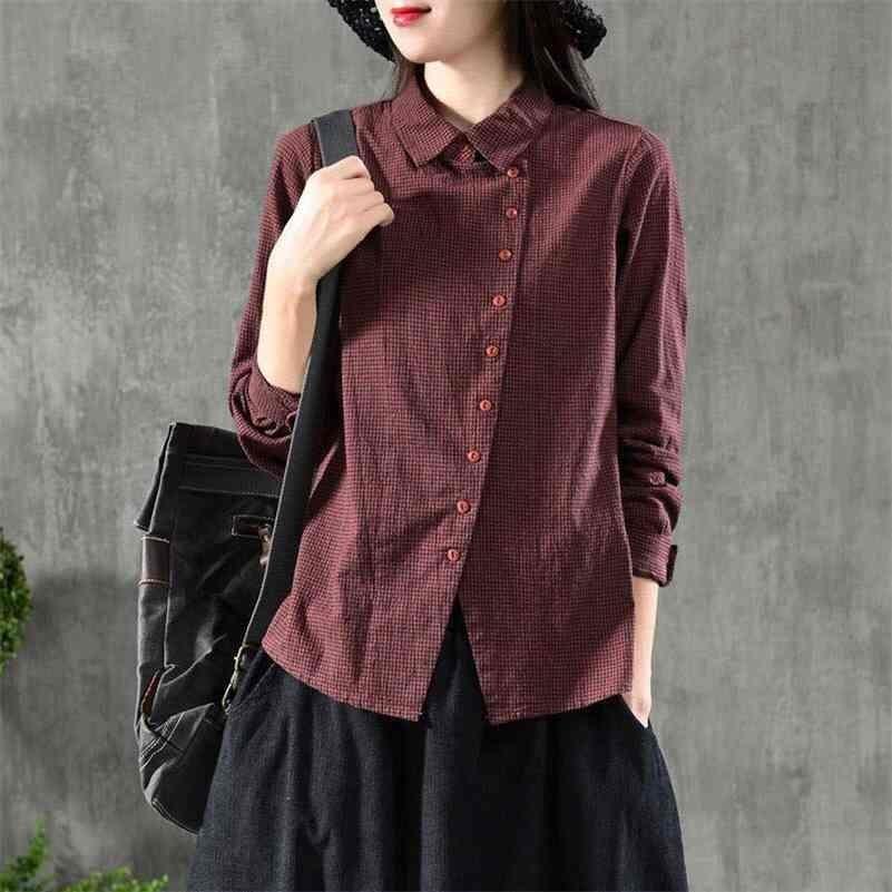 FJE Yeni Bahar Kadın Gömlek Artı Boyutu Uzun Kollu Rahat Bayanlar Pamuk Ekose Turn-down Yaka Bağbozumu Bluz Gömlek D7 210323