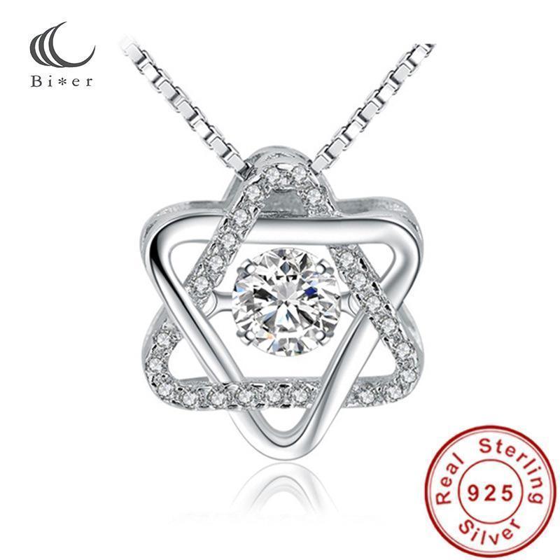 Collana di colore argento micro intarsio di cristallo strass zircone zircone stella stella collana per il regalo della festa nuziale 40 + 5cm