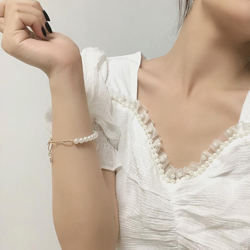 Bangle CH-580 Япония и Южная Корея модная жемчужная металлическая цепь простая личность ниша дизайн смысл дикий браслет женщина