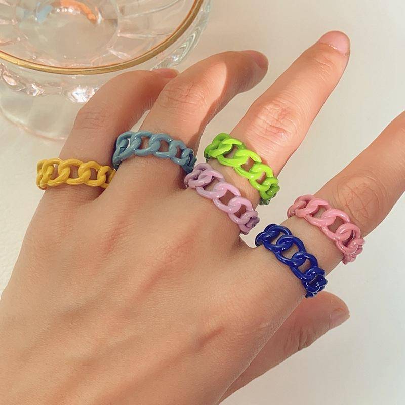 Open Ring Candy Color Alloy Finger For Women Spray Chain Adjustable Vintage Punk Jewelry Men Anillos Mujer