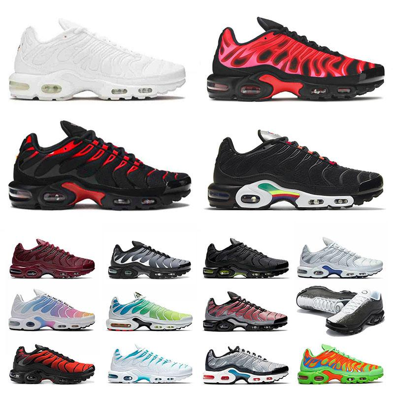 TN Plus Mens Running Shoes 2021 Sports Sneakers Mean Green Fire Pink Volt Glow Triple White Black University Red Fashion Men Women Trainers Big Size Us 12