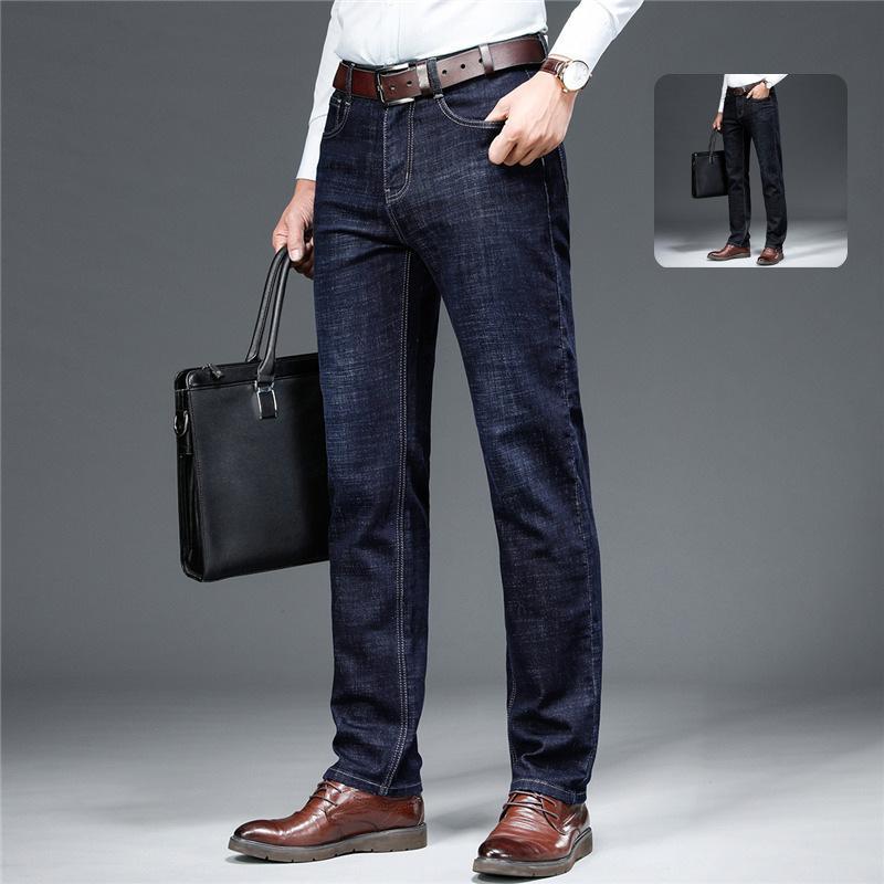 2021 Pantaloni per il tempo libero della gioventù degli uomini di quattro stagioni che si estendono i jeans sottili dritti scuri