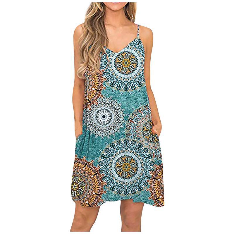 Women Summer Sexy Sling Strapless Casual Fashion Beach Cover Up Plain Pleated Tank Slip Printing Dress Robe Été E4 Dresses