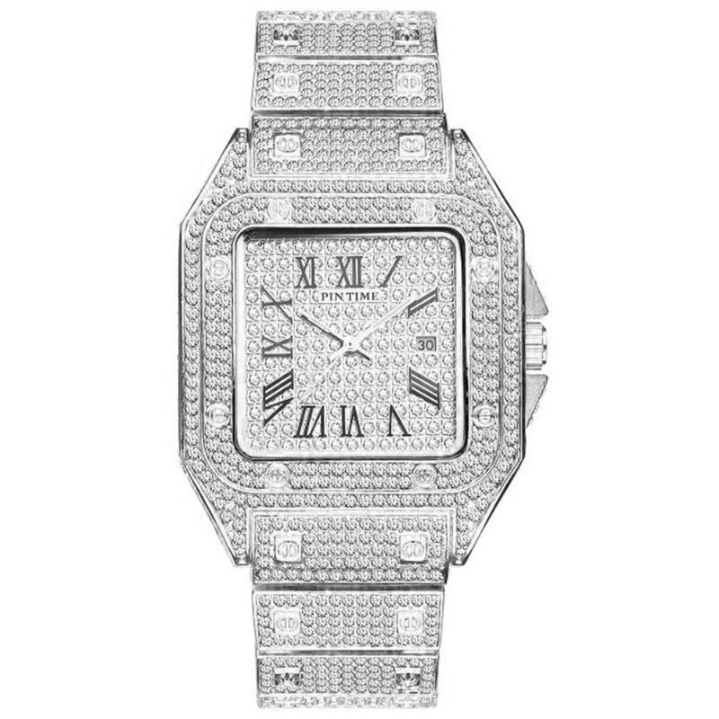 Orologi da polso hip hop ghiacciato da uomo orologio quadrato diamante quarzo di lusso mens da uomo orologi da polso oro calendario romano orologio in acciaio Relogio Masculino