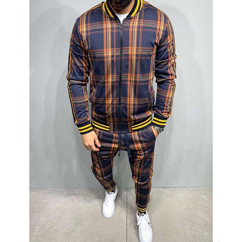 2021 мужской костюм осень осень зима кардиган плед пальто спортивные мода повседневная одежда