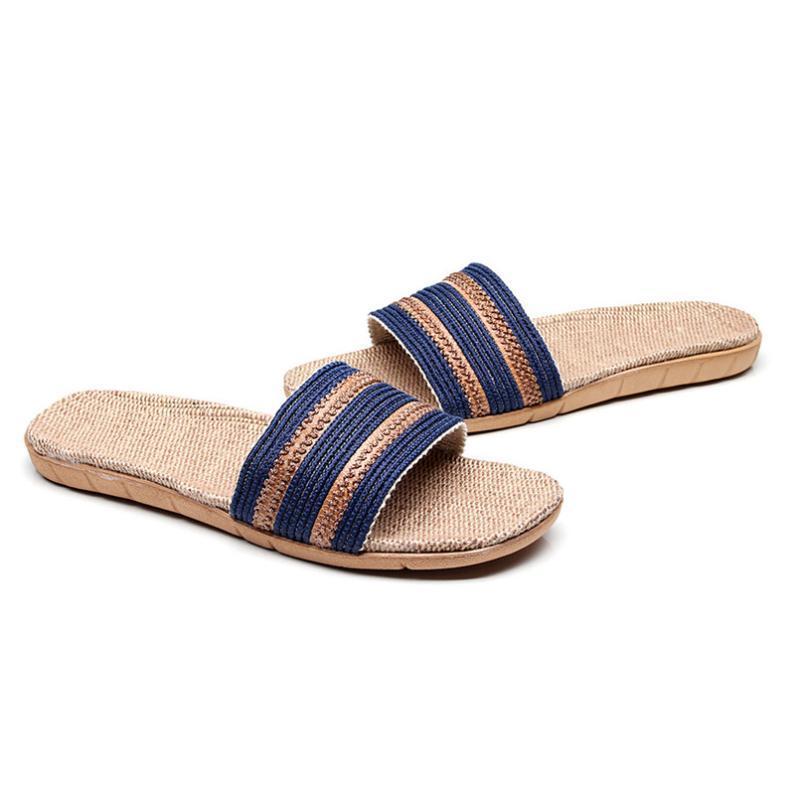 النعال الأزياء المضادة للانزلاق الكتان المنزل داخلي مفتوحة تو الأحذية شقة شاطئ zapatos دي hombre