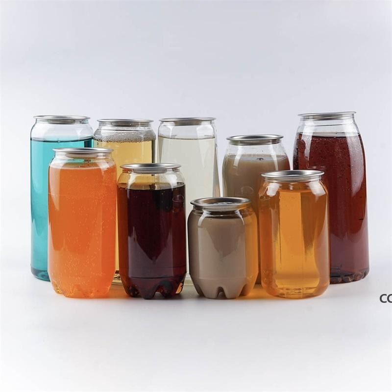 Plastic Beverage Bottle Can 350ML 500ML 650ML Ring-pull Can Round Water Bottles Disposable food grade Juice Cups sea shipping DHB9047