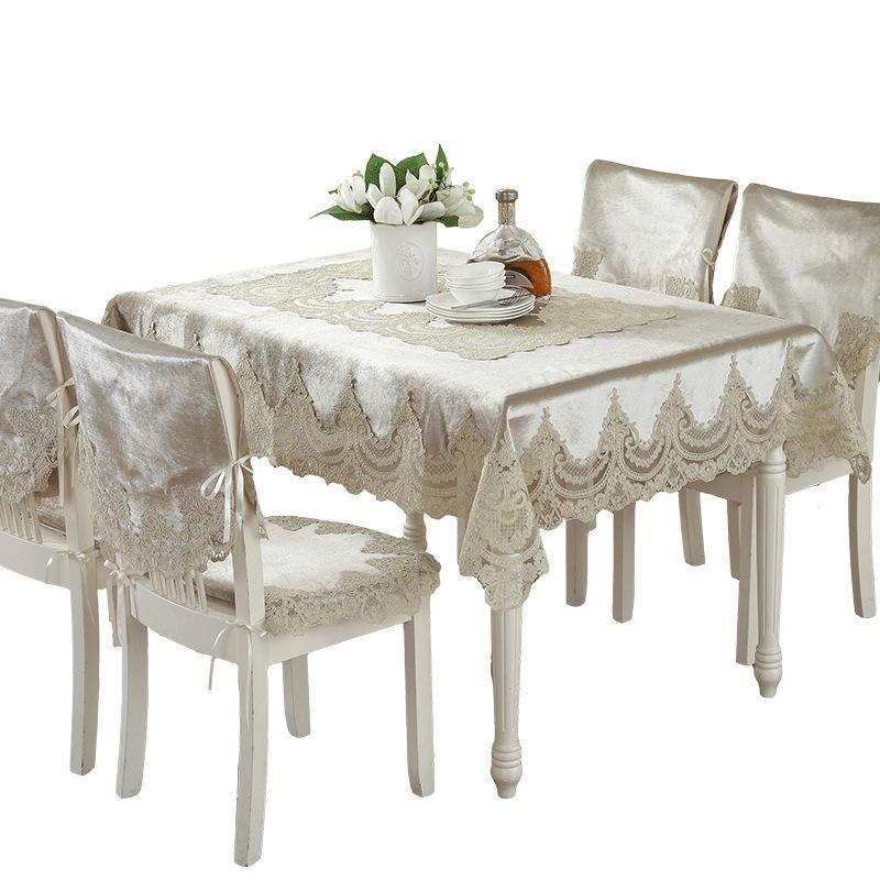 유럽 스타일의 럭셔리 컴포트 레이스 가장자리 방진 식탁보 가정용 저녁 파티 테이블 옷감 커버 고품질 장식 천