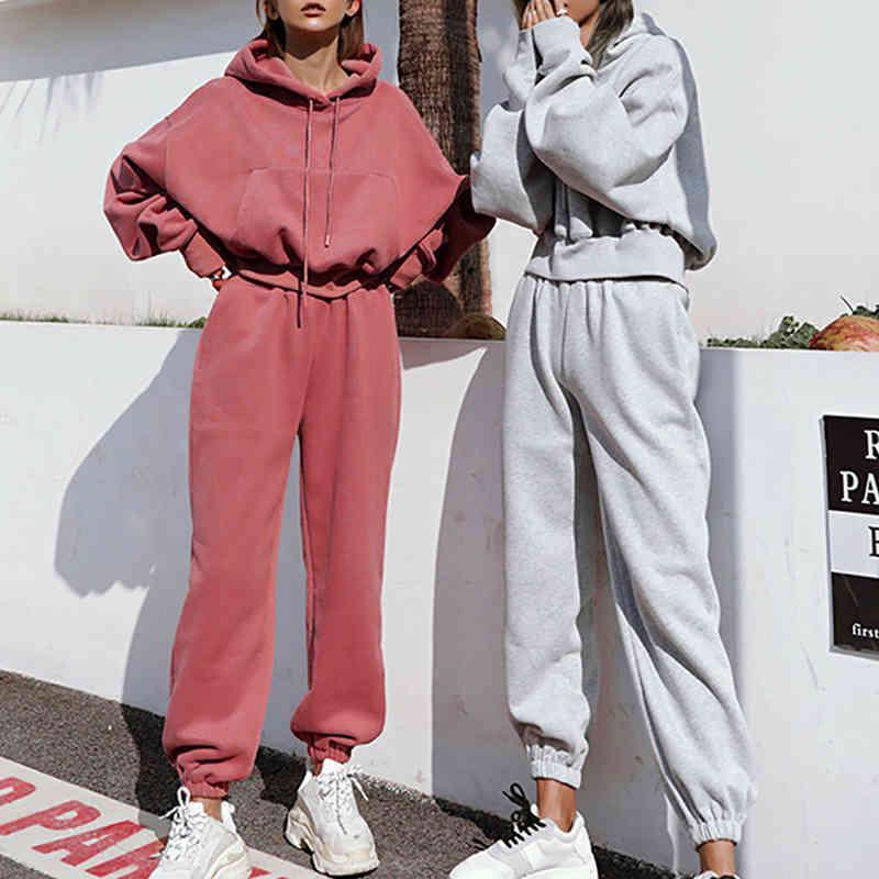 2021 Femmes Two Two Thefits Automne Femmes Tracksuit surdimensionné Sweat à capuche et pantalon décontracté Sport de sport Hiver 2 pièces Femme