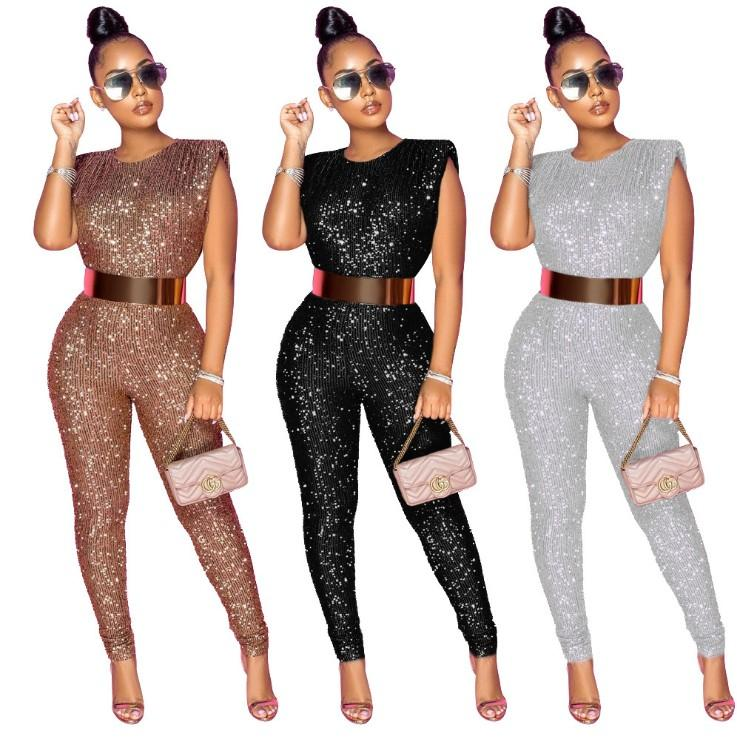 Frauen Sleeveless Pailletten Skinny Jumpsuits Sexy Party Club Outfits Chic Jumpsuit Frauen Strampler