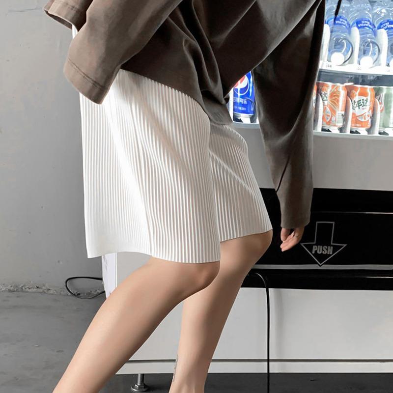 Verão plissado shorts mens moda cor sólida solta calções casuais homens streetwear selvagem coreano Calças de cinco pontos Mens S-3XL