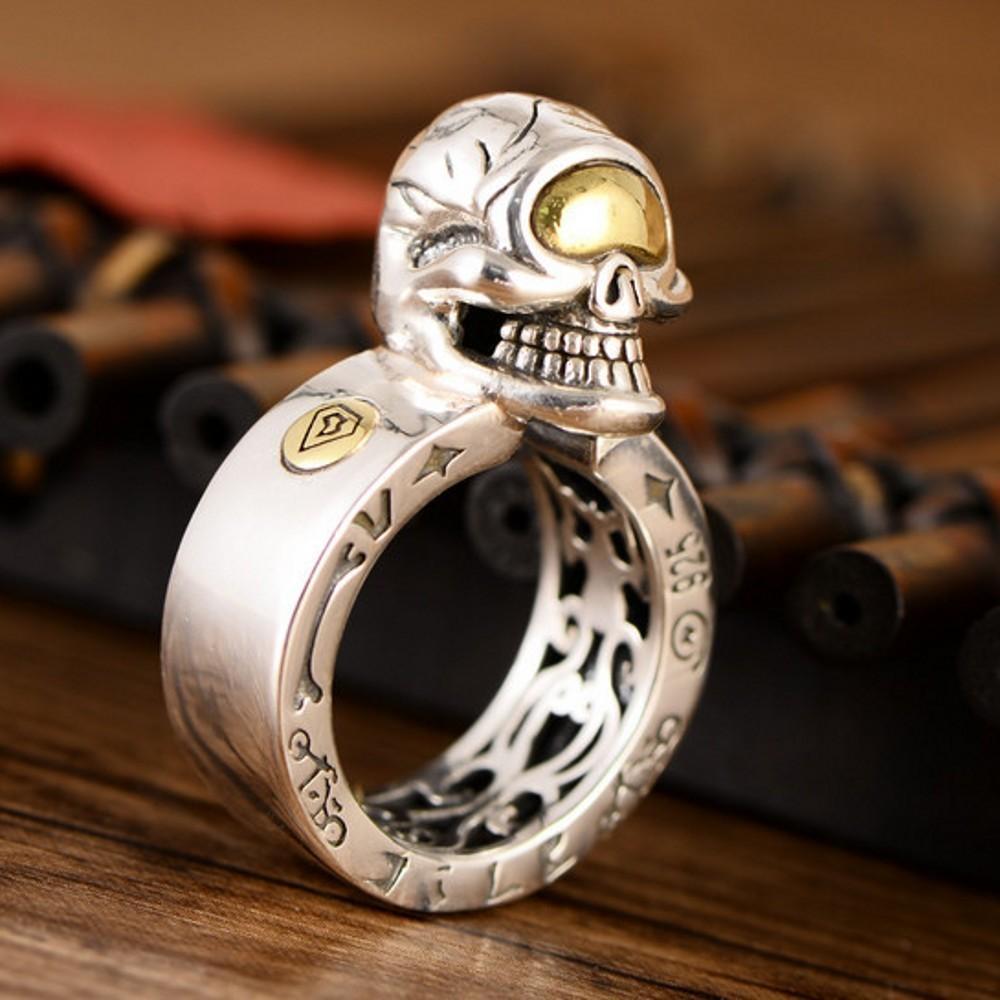 Anillos Bocai Real S925 Sterling Silver Jewelry Retro Dominio Moda Hombres Cráneo grabado dentro del anillo de hombre