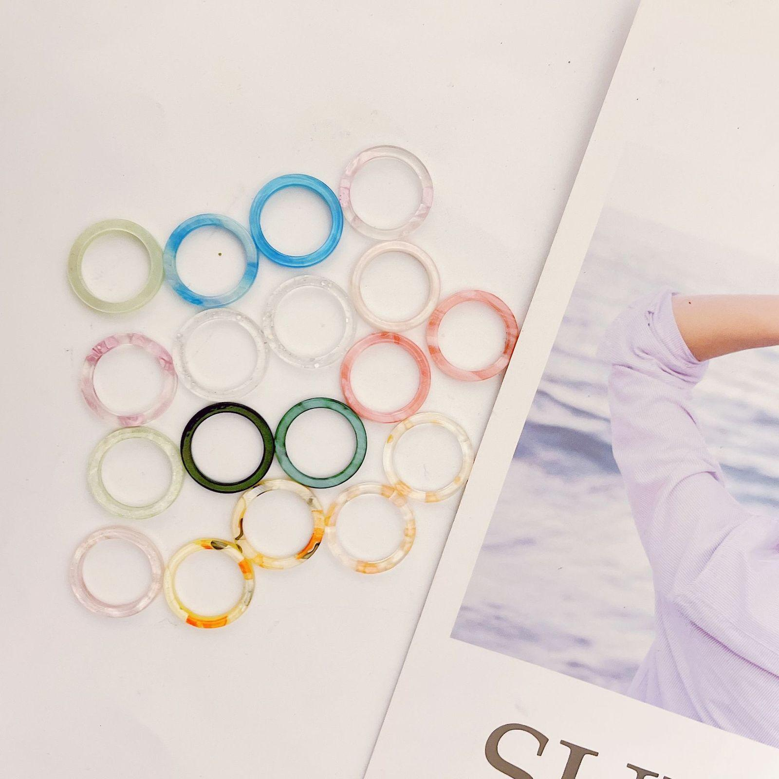Acrylic Acetate Simple Fashion Does Not Fade Girl Personality Transparent Color Ring