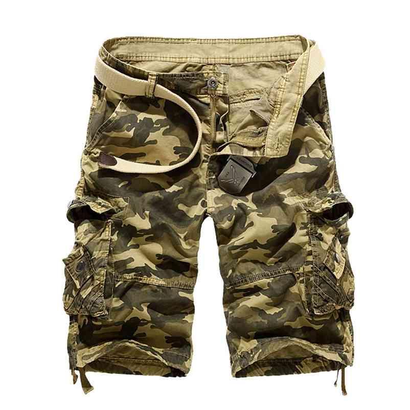 Nova Camuflagem Solta Carga Shorts Homens Fresco Verão Militar Camo Calças Curtas Homme Tactical Carga Shorts Drop Drop 210322